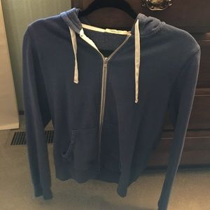 Blue cardigan with a zipper & hoodie